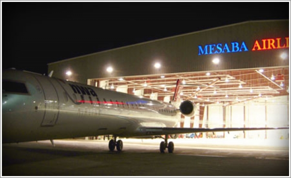 The new Mesaba maintenance hangar's structural steel construction allows for quick and easy airplane tune-ups